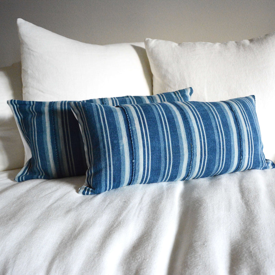 Indigo Striped Linen Lumbar Pillow 12x24 #2