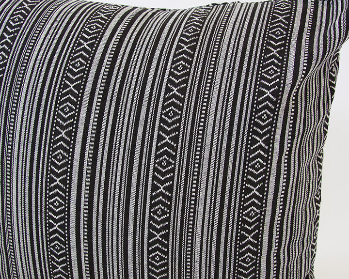 Striped Aztec Accent Pillow - Black - 20x20