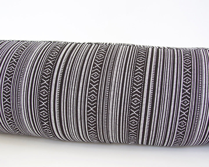 Striped Aztec Extra Long Lumbar Pillow - Black - 14x50