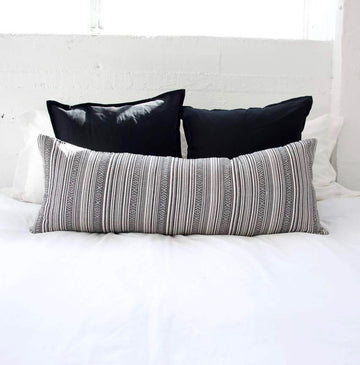 Striped Aztec Extra Long Lumbar Pillow - Dark Grey - 14x36