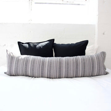 Striped Aztec Extra Long Lumbar Pillow - Dark Grey - 14x50