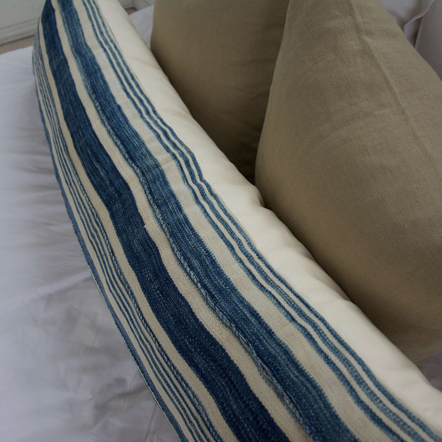 Blue & White Striped Mud Cloth Extra Long Lumbar Pillow - 14x50