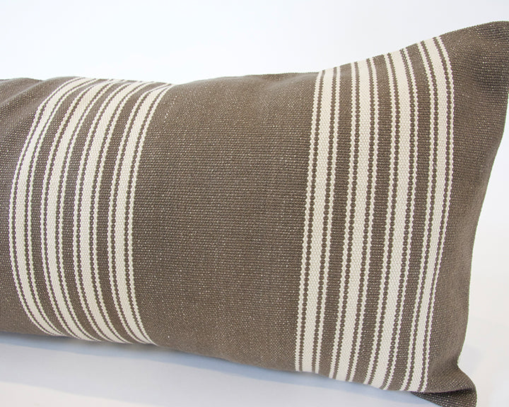 Taupe Grey & White Stripes Extra Long Lumbar Pillow - 14x36