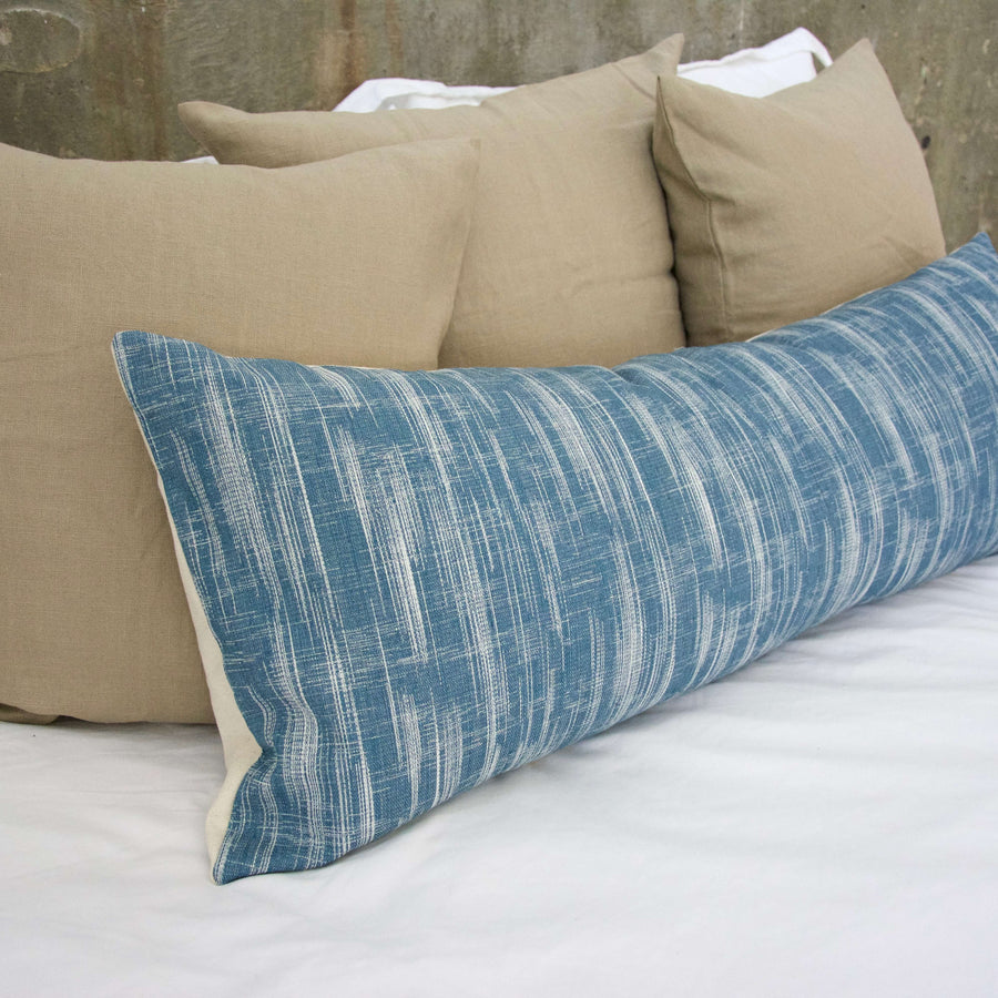 Textured Denim Lumbar Pillow - 14x36