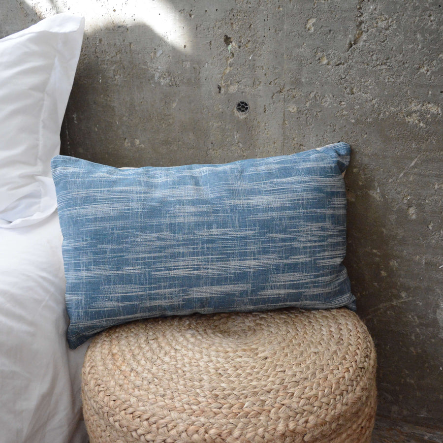 Textured Denim Lumbar Pillow - 14x22