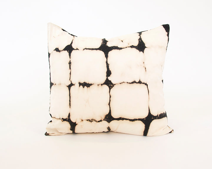 Tie Die Black And Cream Block Pillow - 22x22