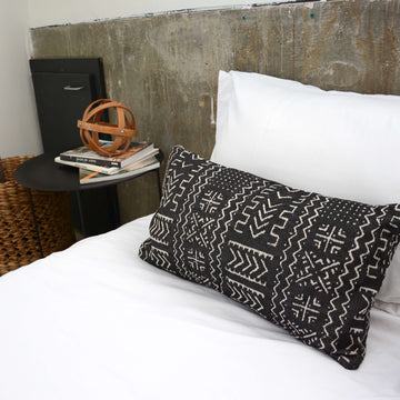 Tribal Black + Cream Lumbar Pillow - 14x22