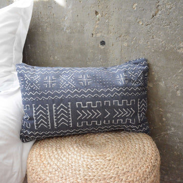 Tribal Blue Lumbar Pillow - 14x22