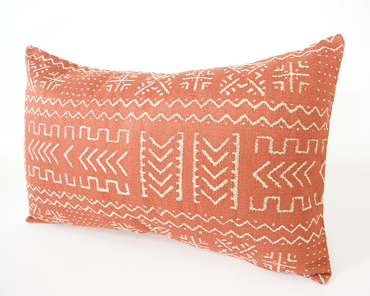 Tribal Rust + Cream Lumbar Pillow - 14x22