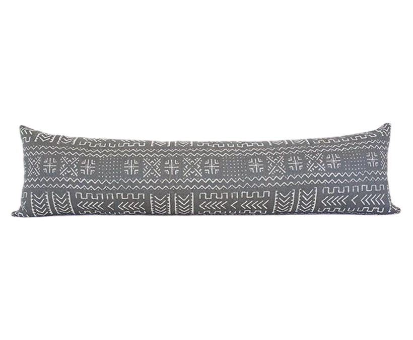 Tribal Slate Grey Extra Long Lumbar Pillow - 14x50