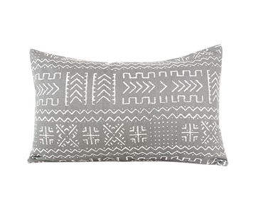 Tribal Slate Grey Lumbar Pillow - 14x22