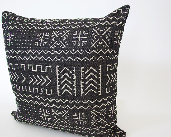 Tribal Black + Cream Accent Pillow - 22x22