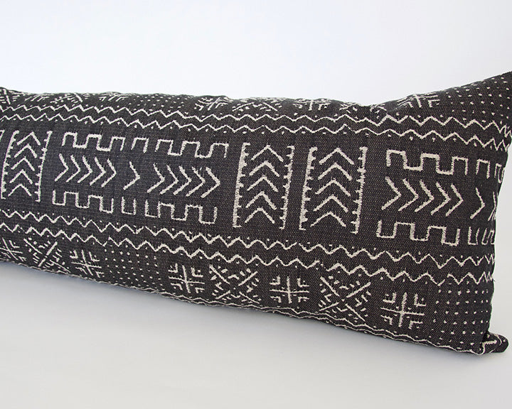 Tribal Black + Cream Extra Long Lumbar Pillow - 14x36