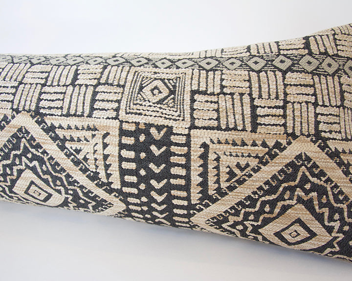 Tribal Deep Blue and Oatmeal Extra Long Lumbar Pillow - 14x50