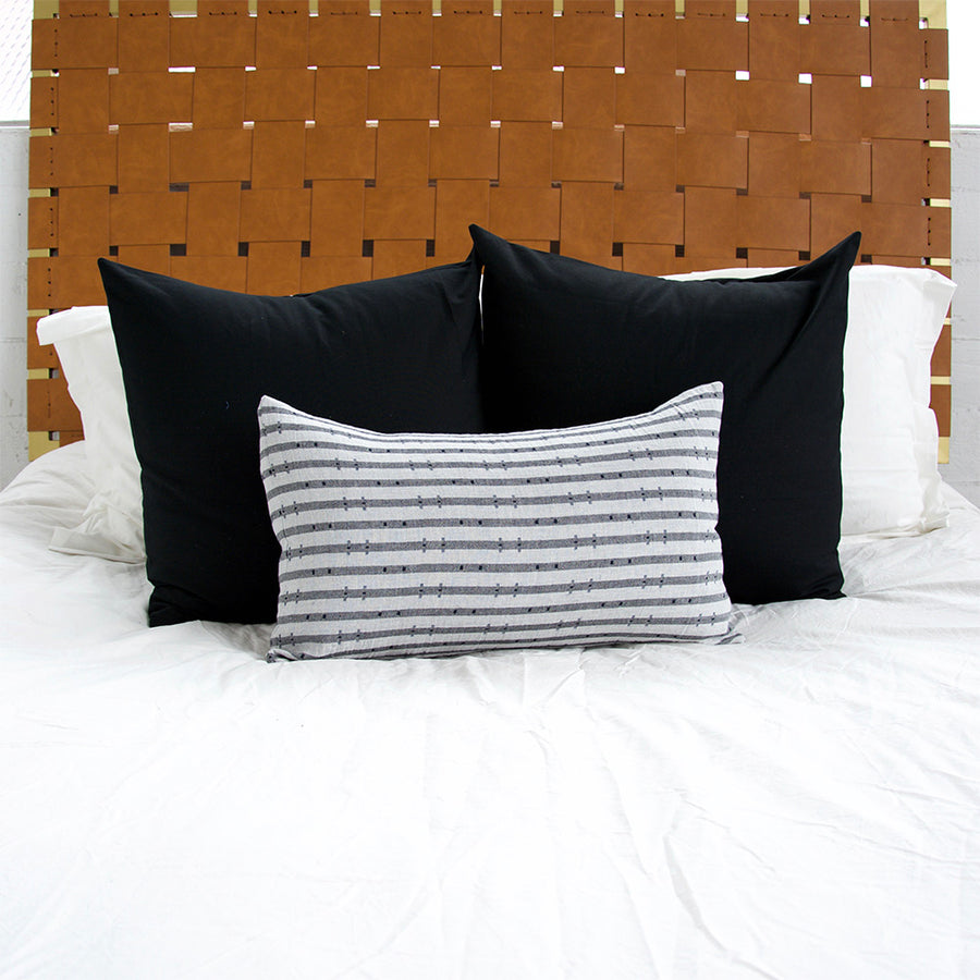 Navy & Grey Striped 'H' Lumbar Pillow - 14x22