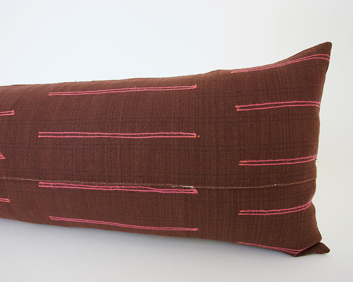 Vintage Hmong Extra Long Lumbar Pillow - Burgundy - 14x36