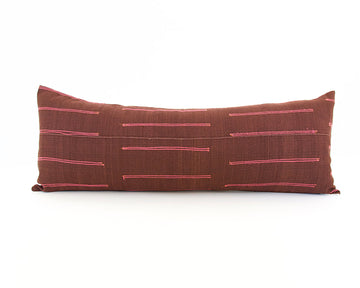 Vintage Hmong Extra Long Lumbar Pillow - Burgundy - 14x36 - #1