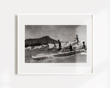 Vintage Surfing Hawaii Art Print