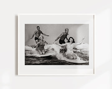 Vintage Tandem Couples Surfing Art Print
