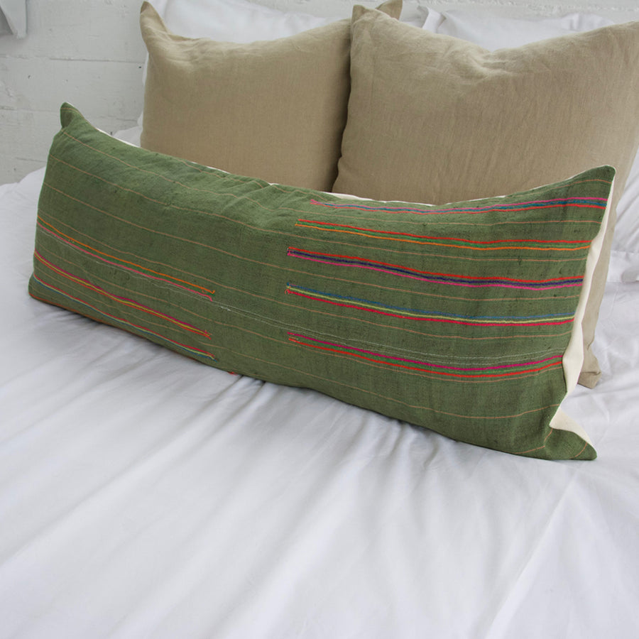 Vintage Hmong Green Extra Long Lumbar Pillow - 14x36