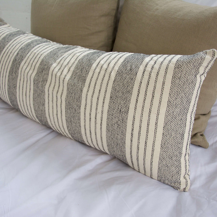 Off White Stripe Extra Long Lumbar Pillow (Vertical) - 14x36