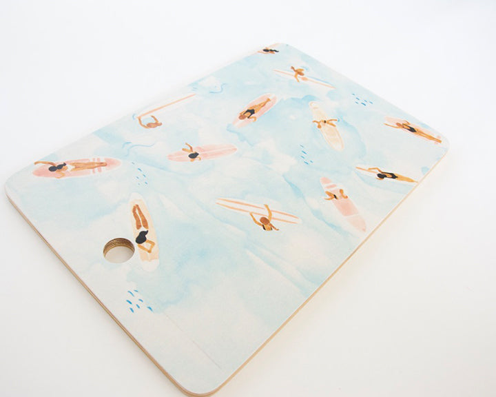 Water Color Surfers Cutting Board