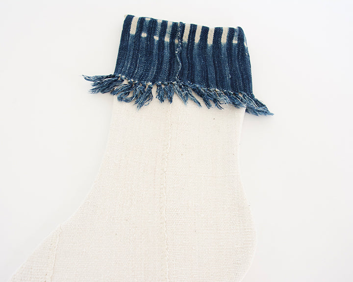 White Mud Cloth Christmas Stocking - Dark Indigo Fringe Cuff