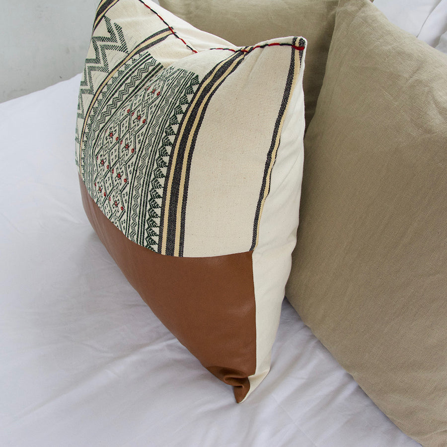 Mix & Match: White & Green Naga Tribal Cloth Faux Leather Pillow - 22x22