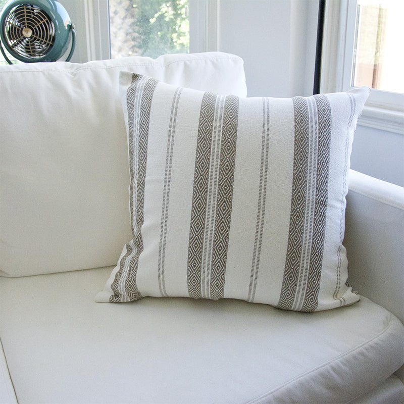 White Southwest Stripes Accent Pillow - 22x22