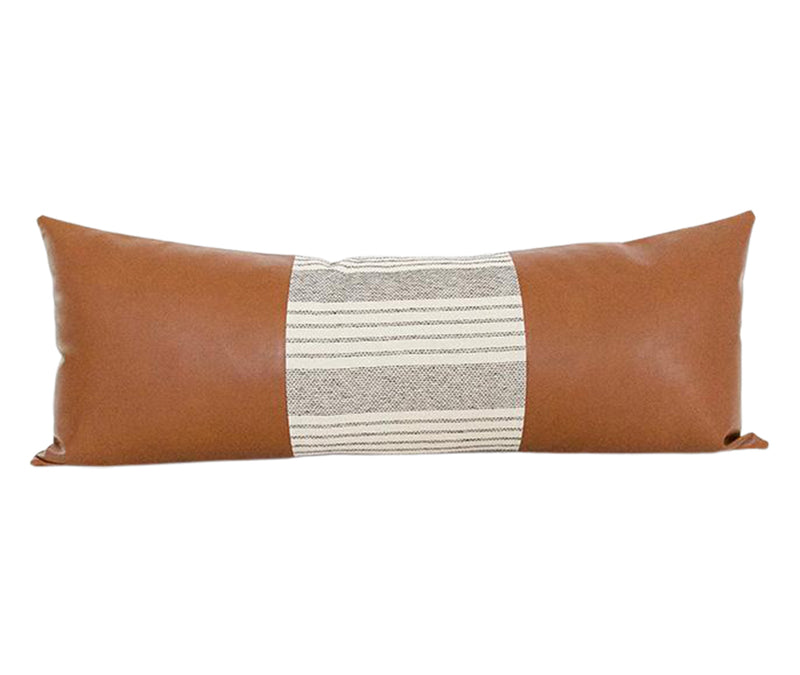 Mix & Match: White Stripe / Faux Leather Extra Long Lumbar Pillow #3 - 14x36