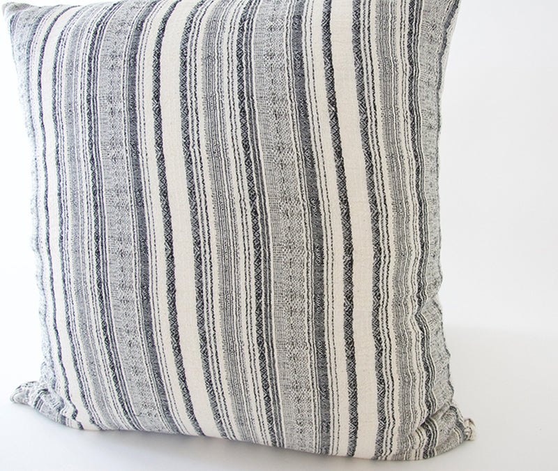 White & Black/Blue Striped Accent Pillow - 20x20