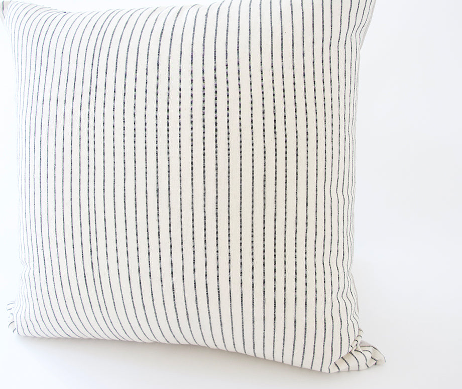 White & Black Striped Accent Pillow - 20x20