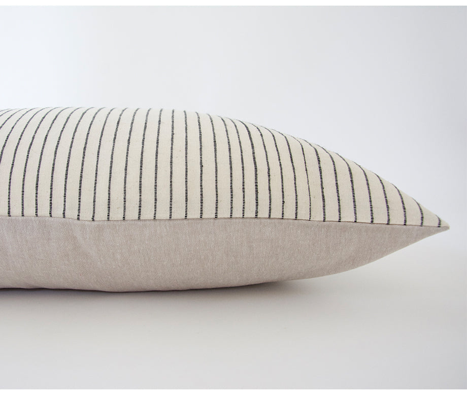 White & Black Striped Extra Long Lumbar Pillow - 14x50