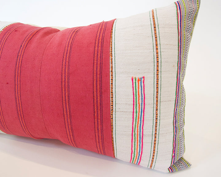 White & Pink Hmong Lumbar Pillow - 14x22