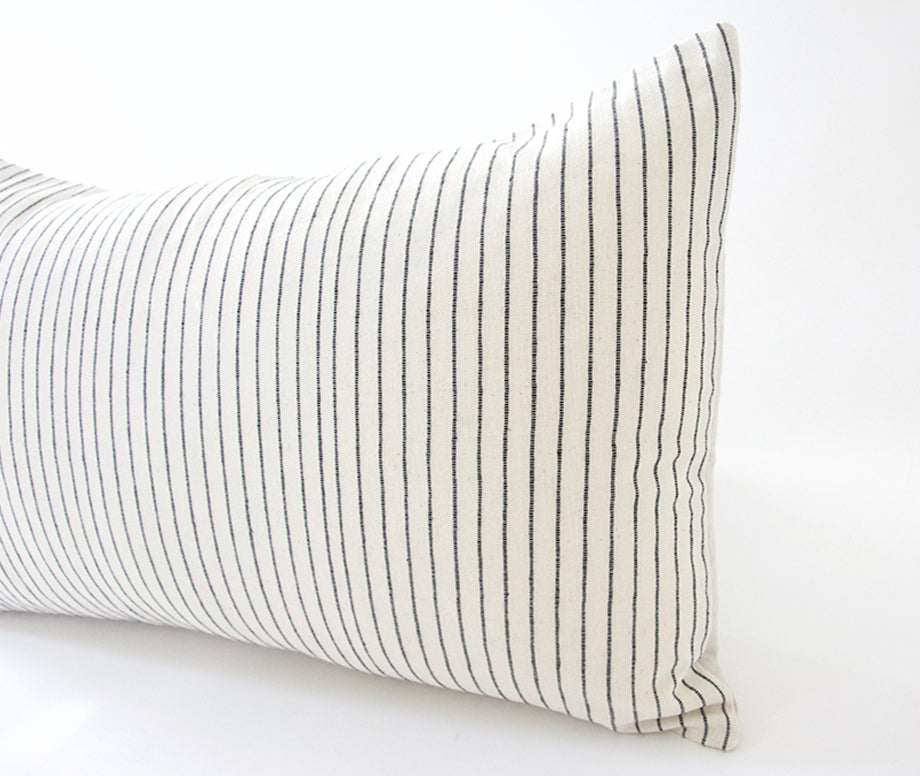 White & Small Black Stripe Lumbar Pillow - 14x22