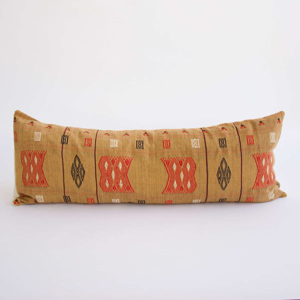 Naga Tribal Long Lumbar Pillow  - Yellow - 14x36