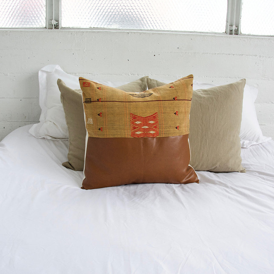 Mix & Match: Golden Naga Tribal Cloth Faux Leather Pillow