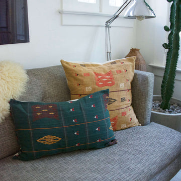 Pillow combo, green and yellow 14x22 and 20x20 inches
