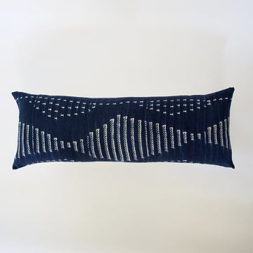 Indigo African Mud Cloth Extra Long Lumbar Pillow - 14x36 #39