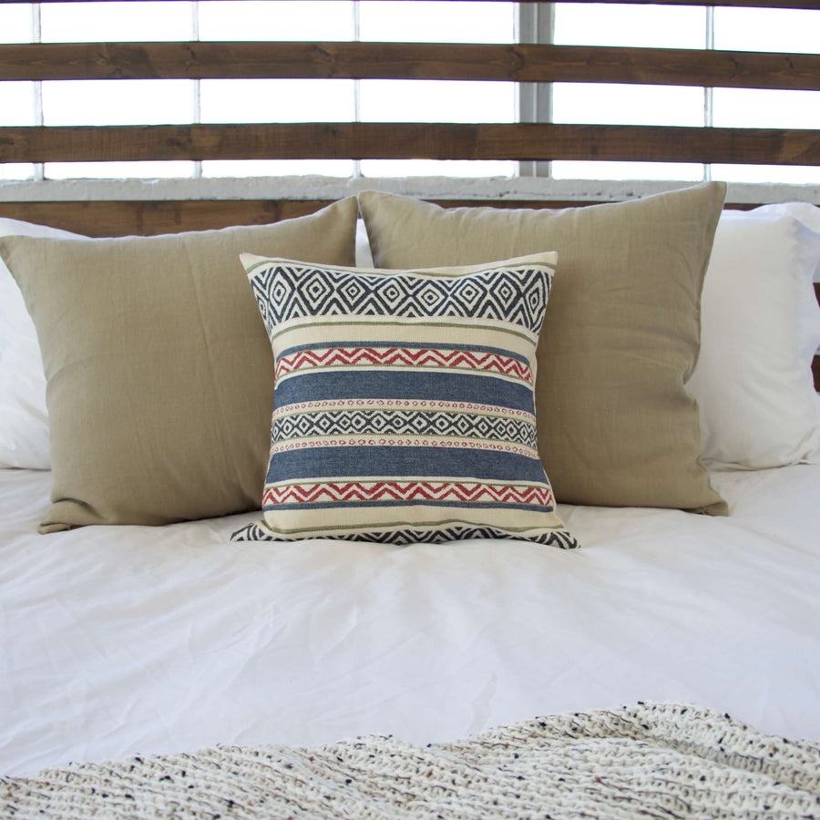Southwest Navy & Red Stripe Accent Pillow Case - 16x16