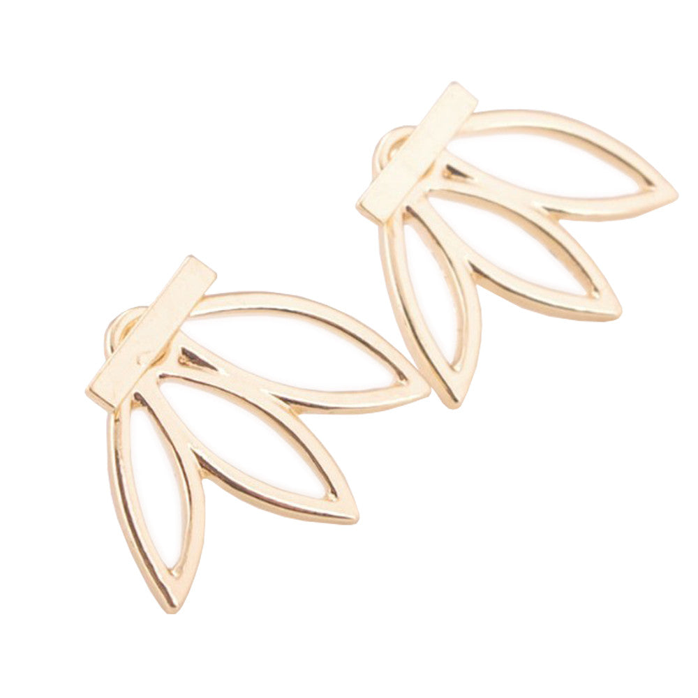 Women's Trendy Plated Hollow Out Leaf Stud Earrings - Bestshopup