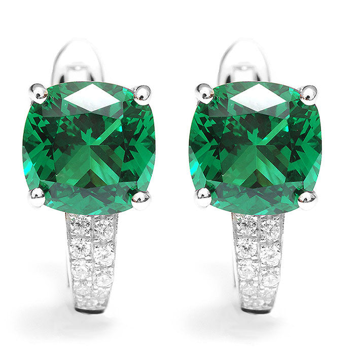 Women's Emerald Sterling Solid Silver Stunning Square Unique Earrings - Bestshopup