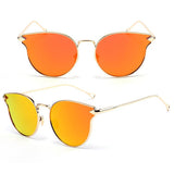 Women's JinCool Cat Eye Metal Mirrored Sunglasses - Bestshopup
