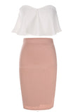 Women's 2 Piece Set Off Shoulder Ruffle Crop Top +Midi Slim Pencil Dress - Bestshopup