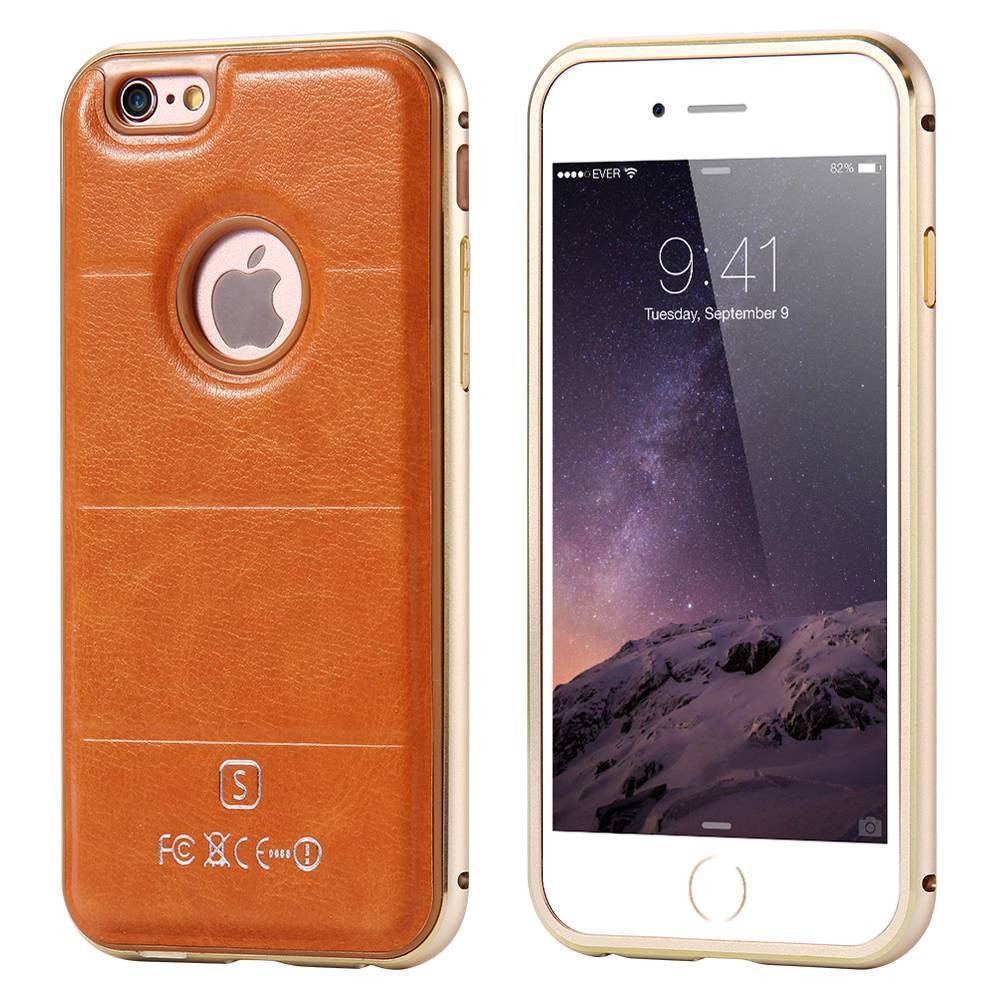 Aluminum Bumper Frame + Leather Cover for Apple iPhone - Bestshopup