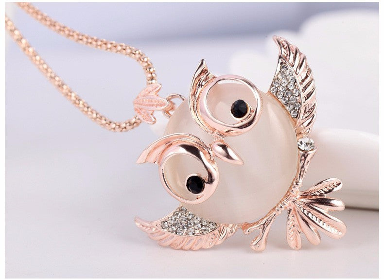 Trendy Chubby Owl Crystal Statement Chain Long Necklaces - Bestshopup