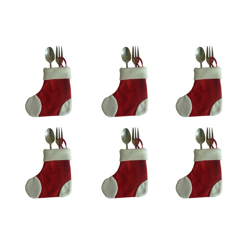 6Pcs Christmas Fork Knife Cutlery Holder Bags Pocket Socks Xmas Decorations for christmas gift (Silverware is not included) - Bestshopup