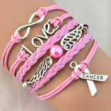 Breast Cancer Love Charm Pink Wax Braided PU Leather Awareness Ribbon Bracelet - Bestshopup