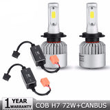 2pcs H7 COB 72W LED Car Headlight Bulbs 8000lm 6500K Auto Fog Light Bulb Headlamp DC12V 24V+CANBUS Wiring Harness Adapter - Bestshopup