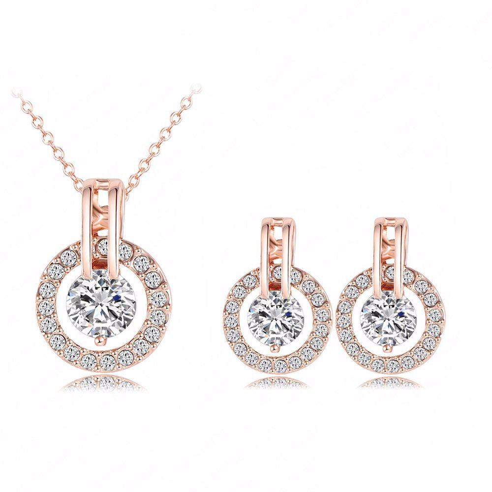 Women's 18K Rose Gold Plated Necklace & Earring Set - Bestshopup